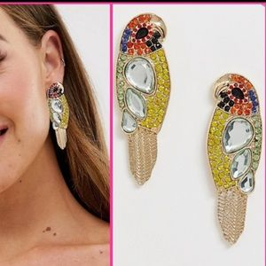 NWT FP parrot embellished statement earrings